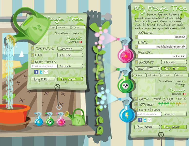 Magic Tree mobilt spil: Id�, id�udvikling, interface design, illustrationer, animationer, flow mv.